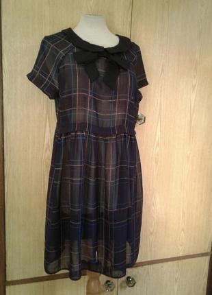 Крапдешиновое платье - туника, xl .2 фото