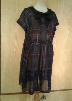 Крапдешиновое платье - туника, xl .4 фото