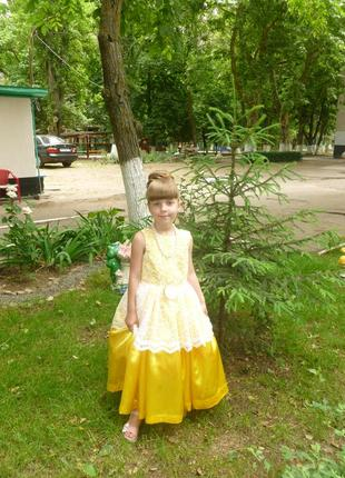 Нарядное платье свадьба выпускной утренник гипюр кружево золотое желтое эксклюзивное