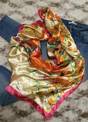 Итальянский фирменный шарф-платок mosi italy,шарфик с вискозы+подарок