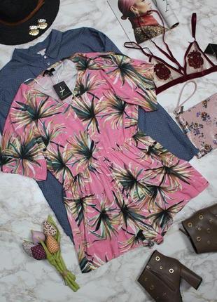 Обнова! ромпер комбинезон шорты розовый тропический принт