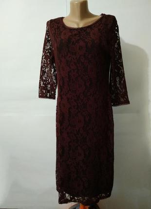 dbb133d2c01 Шикарное бордовое кружевное гипюр платье футляр marks spencer uk ...
