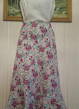 Юбка лен, цветочный принт,  laura ashley , размер 16.