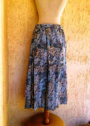 Шелестящая гофрированная юбка в складках,которая не полнит3xl.