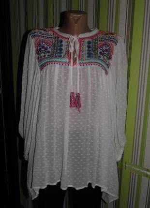 Шикарнейшая блузка-вышиванка - zara basic eu s -индия сток