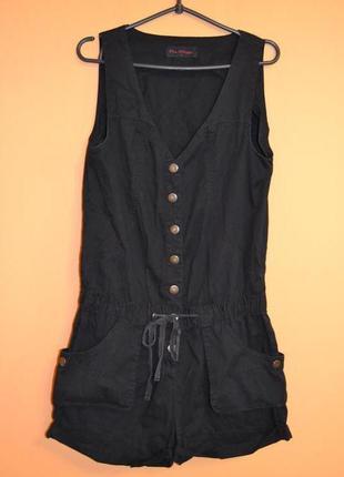 Ромпер/комбинезон с шортами черный котоновый/хлопковый 10р.