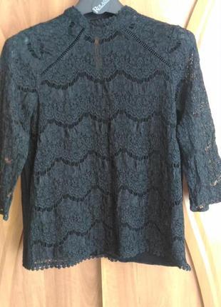 Кружевная чёрная блузка f&f, р. 10