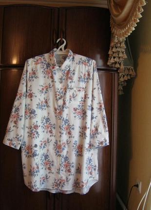 Рубашка-халат marks&spencer, 100% хлопок, размер 20/48
