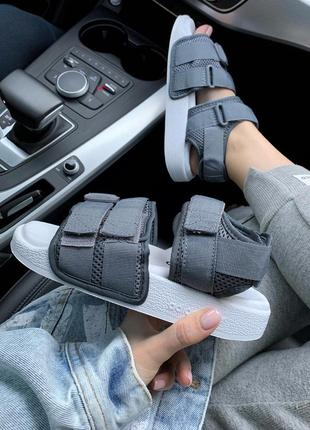 Шикарные женские сандали/ босоножки на платформе adidas adilette grey 😍