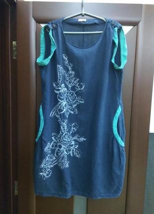 Платье туника льняное карманы вышивка цвет под джинсу