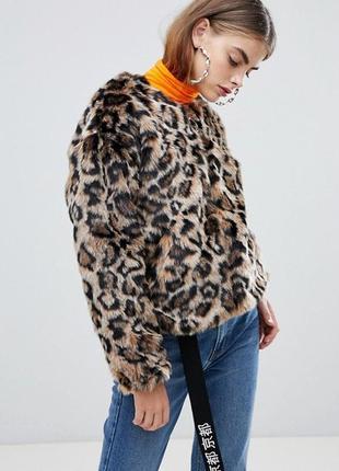 Куртка полушубок леопард на молнии с карманами