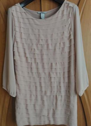 Пудровая блузка h&m, шифон, вискоза, р.m