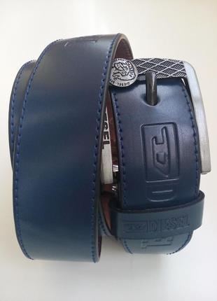 Яркий синий кожаный ремень