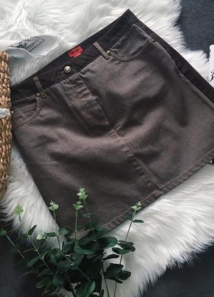 Юбка джинсовая винтажная высокая талия коричневая hugo boss