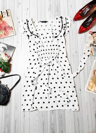 Платье в горошек черный кружева туника