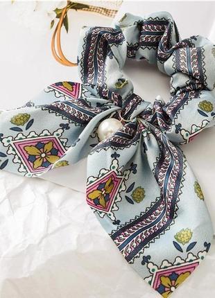 Sale!!! резинка-бантик с жемчугом / в наличии разные цвета  резинка платок с жемчугом