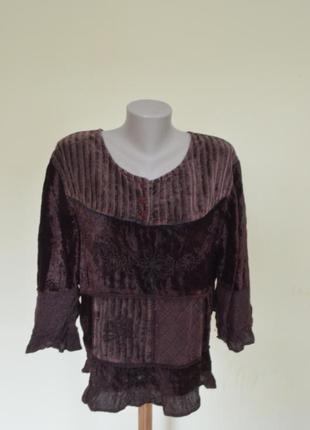 Шикарная велюровая блуза с вышивкой и кружевом,вискоза2 фото