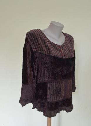 Шикарная велюровая блуза с вышивкой и кружевом,вискоза5 фото