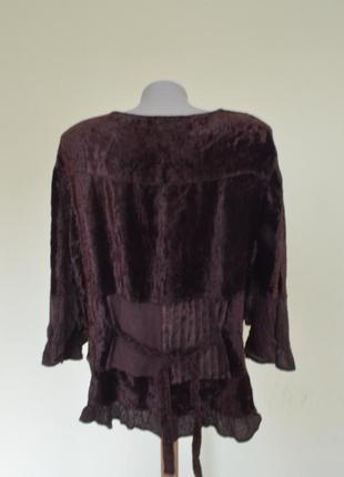 Шикарная велюровая блуза с вышивкой и кружевом,вискоза6 фото