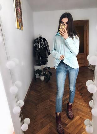 Голубая хлопковая рубашка коттонова сорочка l xl блуза вишиванка3 фото