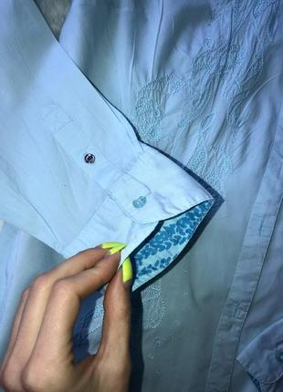 Голубая хлопковая рубашка коттонова сорочка l xl блуза вишиванка4 фото