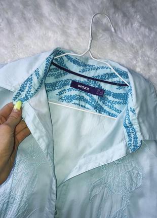 Голубая хлопковая рубашка коттонова сорочка l xl блуза вишиванка5 фото