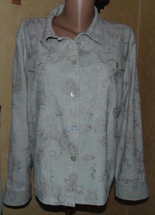 Натуральная летняя куртка лен (в груди 56см)1 фото