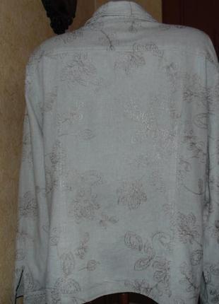 Натуральная летняя куртка лен (в груди 56см)5 фото