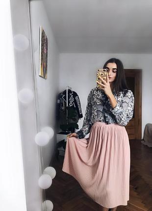 Вінтажна пудрова юбка плісе s /m спідниця пудра2 фото
