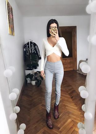 Сірі штани скінні лосіни брюки по вигуре на кант1 фото