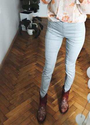 Сірі штани скінні лосіни брюки по вигуре на кант4 фото