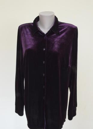 Очень красивая блуза-рубашка из пан-бархата фиолетового цвета1 фото