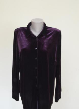 Очень красивая блуза-рубашка из пан-бархата фиолетового цвета2 фото