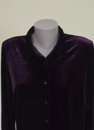 Очень красивая блуза-рубашка из пан-бархата фиолетового цвета3 фото