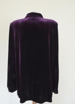 Очень красивая блуза-рубашка из пан-бархата фиолетового цвета5 фото