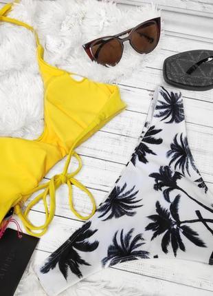 Купальник раздельный жёлтый верх низ пальмы3 фото