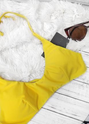 Купальник раздельный жёлтый верх низ пальмы4 фото