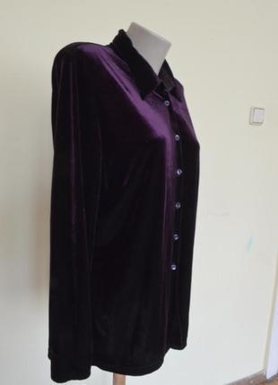 Очень красивая блуза-рубашка из пан-бархата фиолетового цвета4 фото