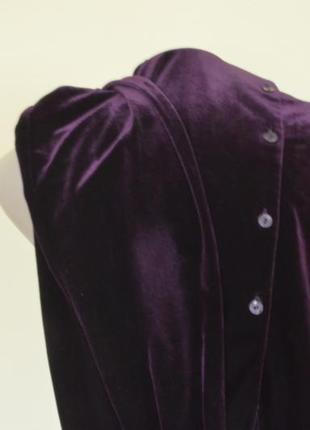 Очень красивая блуза-рубашка из пан-бархата фиолетового цвета7 фото