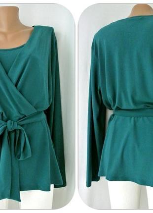 Красивейшая брендовая блузка на запах h&m. размер xl.2 фото