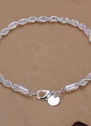 Элегантный витой женский браслет 925 проба стерлинговое серебро 75 грн.