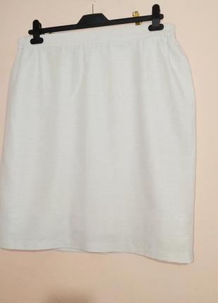 Белая хлопковая юбка-карандаш. батал.1 фото