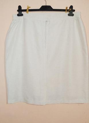 Белая хлопковая юбка-карандаш. батал.3 фото
