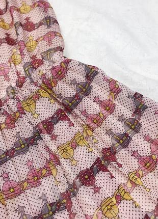 Розовое летнее шифоновое миди плиссированное платье6 фото