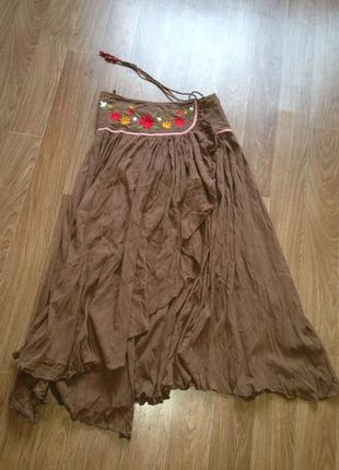 Красивая широка юбка в пол на запах бохо этно летняя макси s-xl  вышивка цветы хлопок 100%1 фото