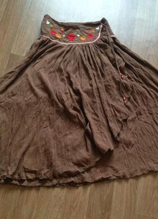 Красивая широка юбка в пол на запах бохо этно летняя макси s-xl  вышивка цветы хлопок 100%2 фото
