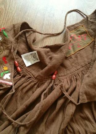 Красивая широка юбка в пол на запах бохо этно летняя макси s-xl  вышивка цветы хлопок 100%4 фото