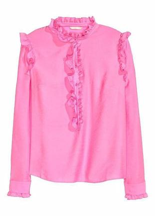 Розовая блуза рубашка с рюшами воланами zara1 фото