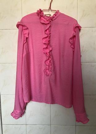 Розовая блуза рубашка с рюшами воланами zara4 фото