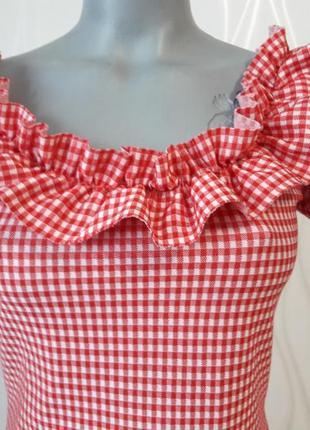 Супер платье красного цвета в мелкий белый и нежный кубик. pull&bear4 фото